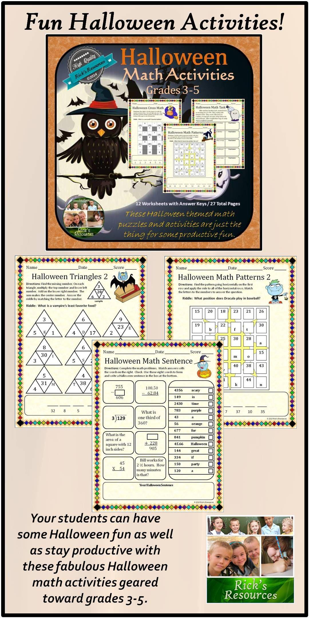 Halloween Math Activities Halloween math, Math