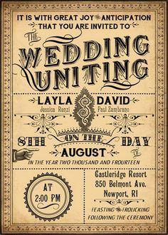 Ophelia   Printable DIY Victorian Steampunk Wedding Invitation Suite    Vintage Typography   Customized Wedding Invitation