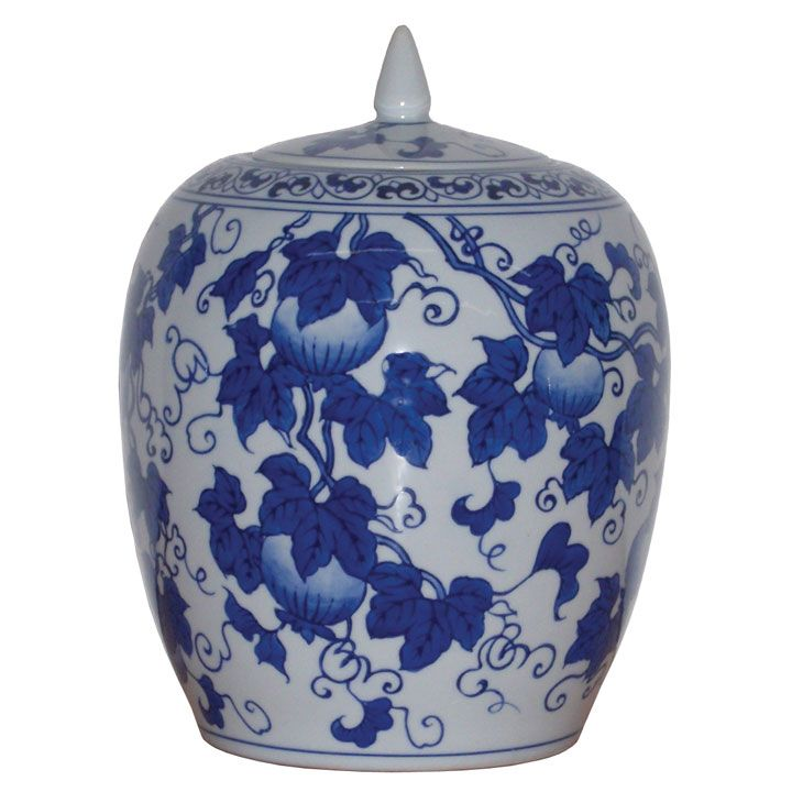 Chinese Shi Liu Blue and White Ginger Jar #ChineseAccessories