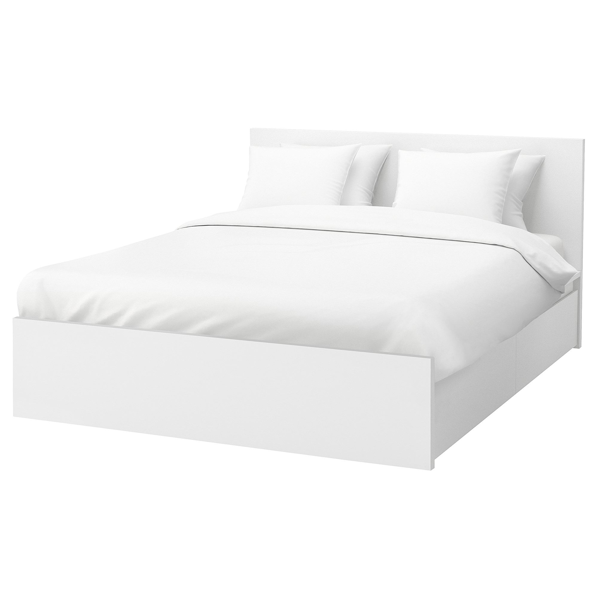 Malm High Bed Frame 4 Storage Boxes White Luroy Queen Malm