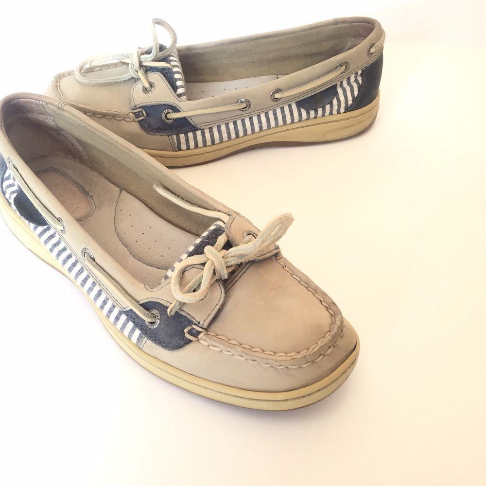 Sperry Top-Sider 8 Angelfish Seersucker Stripe Gray Navy Blue Womens Boat  Shoes #SperryTopSider