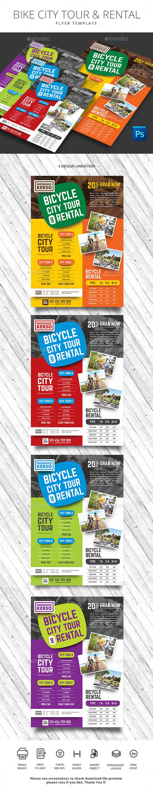 Bike City Tour And Rental Flyer Template Psd Flyer Templates