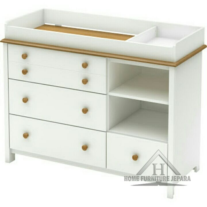 South S Little Smileys Changing Table Pure White With Harvest Maple Accents