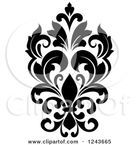 Clipart Of A Black And White Arabesque Damask Design 24
