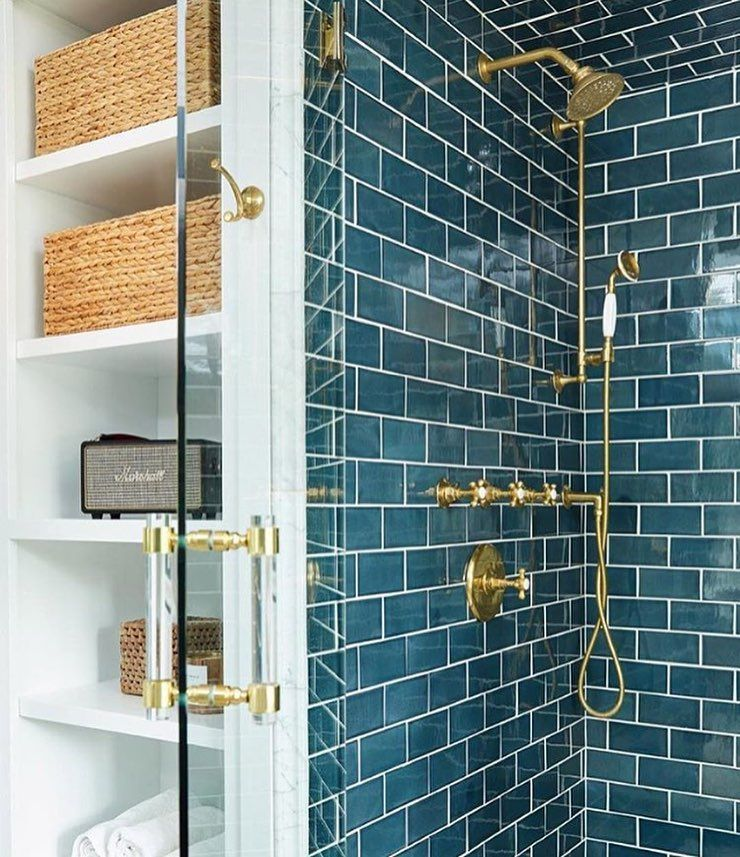 Oh Wow I M All In On This Teal Subway Tile So Pretty With The Brass Fixtures Gorgeous Repost W Bathroom Design Tile Bathroom Beautiful Bathrooms