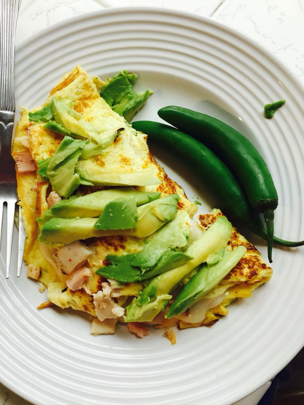 Easy ham cheese and avacado omelette breakfast brunch
