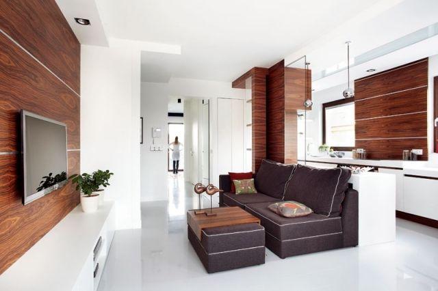 wohnzimmer modern offene gestaltung küche holz weiß | Interior ...