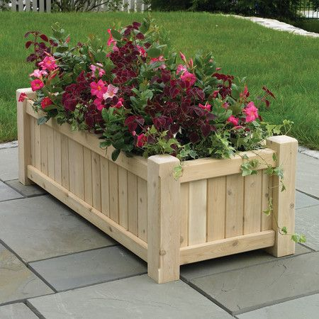 Hill Farm Rectangular Planter In Natural Large Wooden 400 x 300