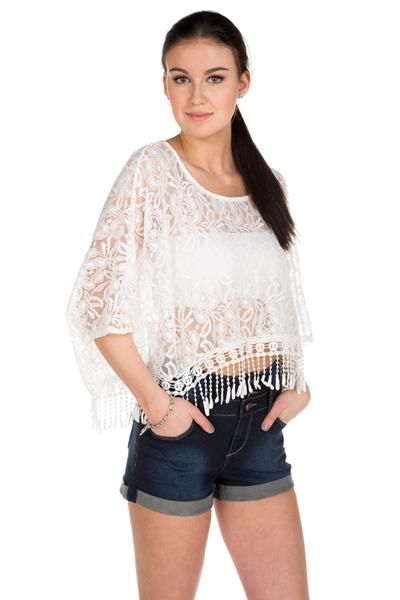 Fringed Lace Poncho #eclipse