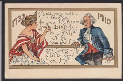 Statue of Liberty-George Washington-Birthday-Postcard