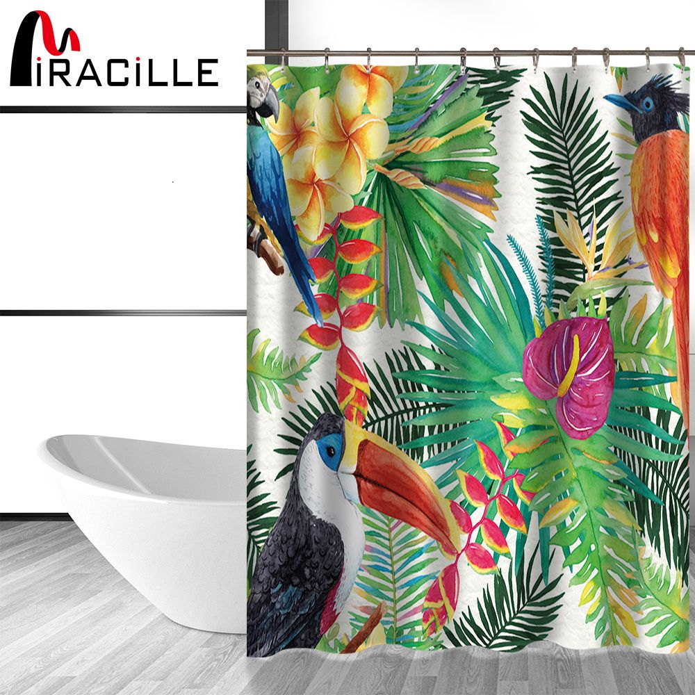 Miracille Tropical Flowers and Birds Bath Curtains Waterproof ...