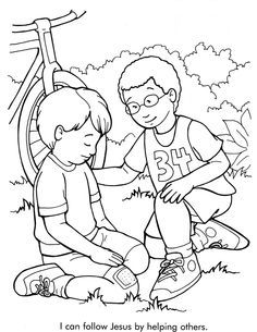 I Can Follow Jesus By Helping Others Coloring Page