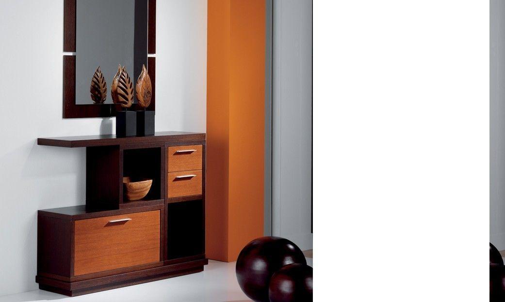 Meuble D Entree Design Wenge Et Teck Avec Son Miroir Avec Images Meuble Entree Design Meuble Entree Meuble