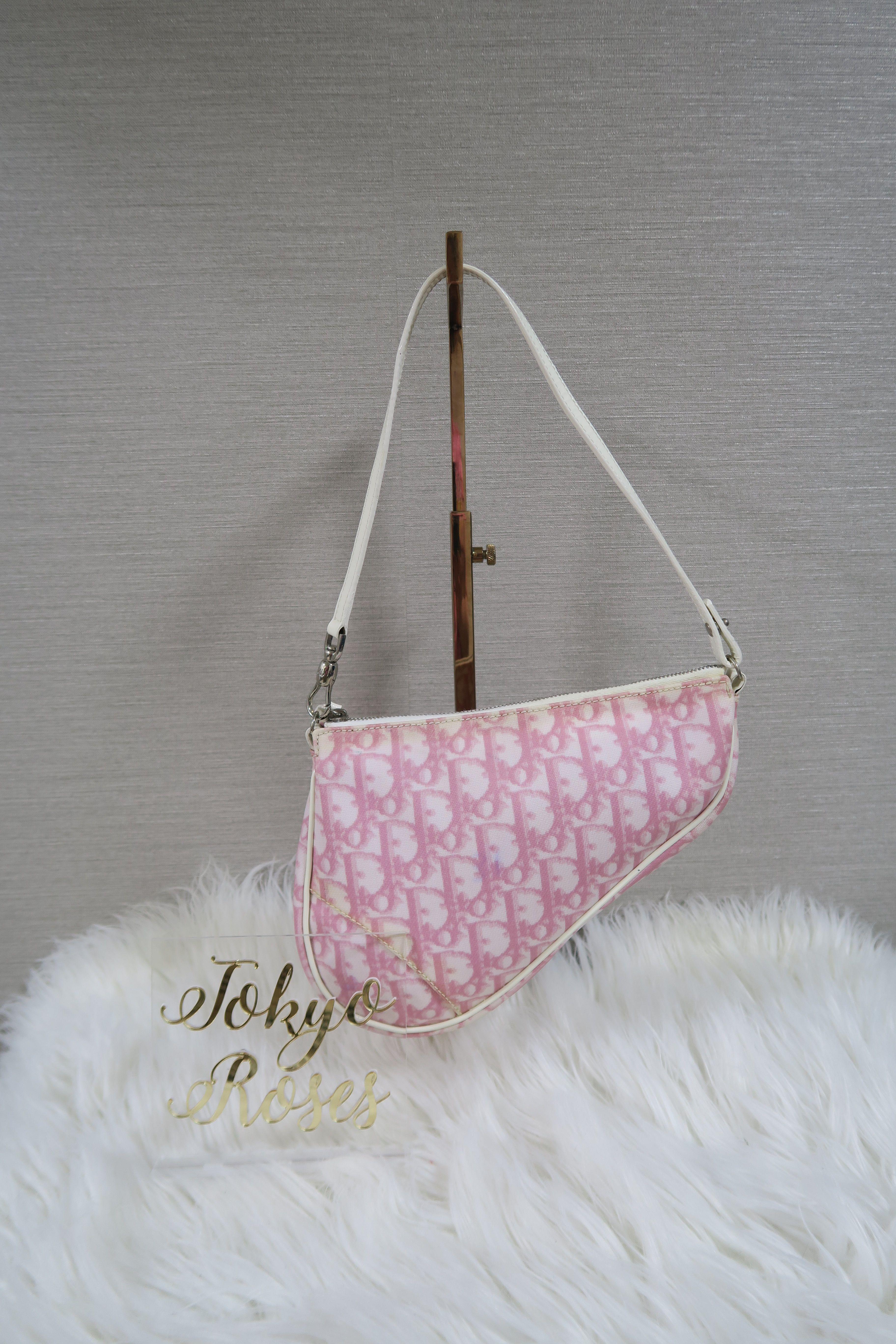 ee9054d2f72 Christian Dior Trotter Monogram Print Saddle Bag Pink & White 1 ...