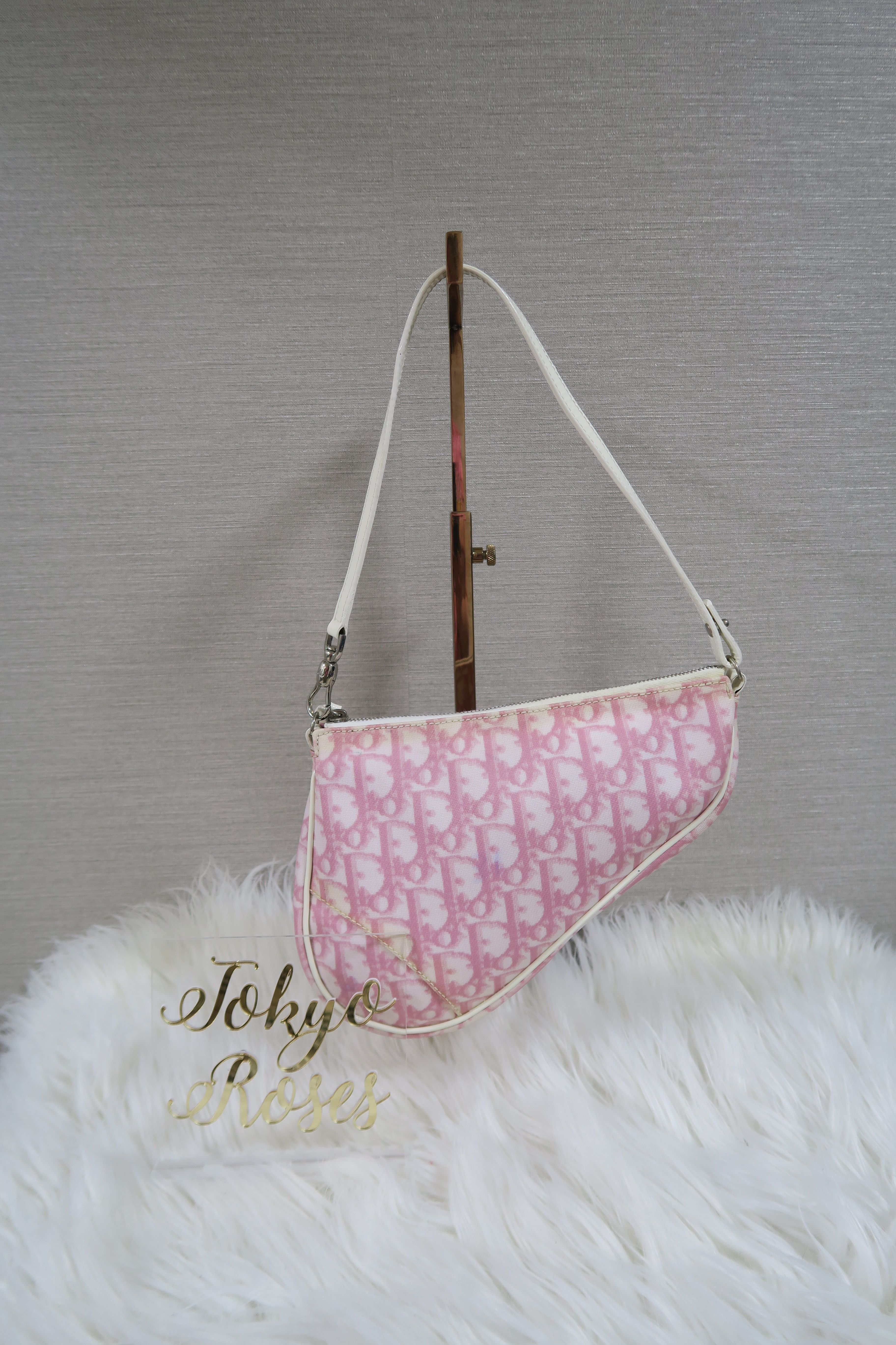 ca71a2361dc4e Christian Dior Trotter Monogram Print Saddle Bag Pink   White 1 ...
