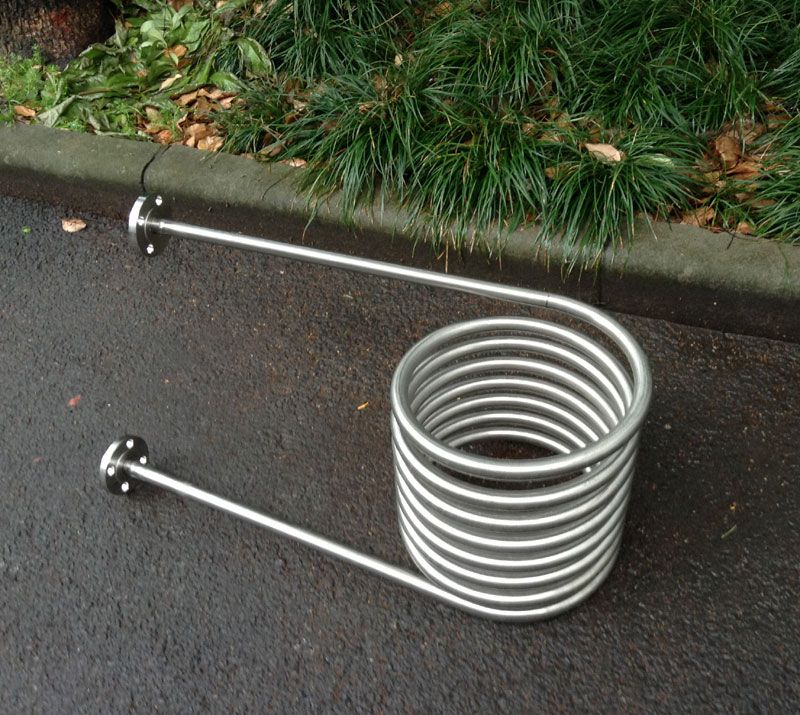 Coil heat exchanger for wood fired tub with flange to - Homemade swimming pool heat exchanger ...