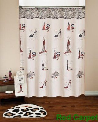 Red Carpet Shower Curtain And Accesssories With Cheetah Print