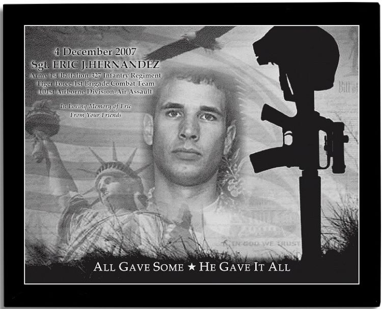 Military Memorial Etched In Marble With Frame 10 5 X 13 Soldier Images Custom Plaques Recognition Plaques