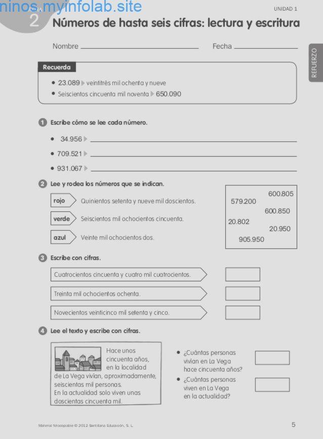 Lectura Y Escritura De Nmeros De Seis Cifras Lectura Y Escritura Escritura De Numeros Ejercicios Matematicas Primaria