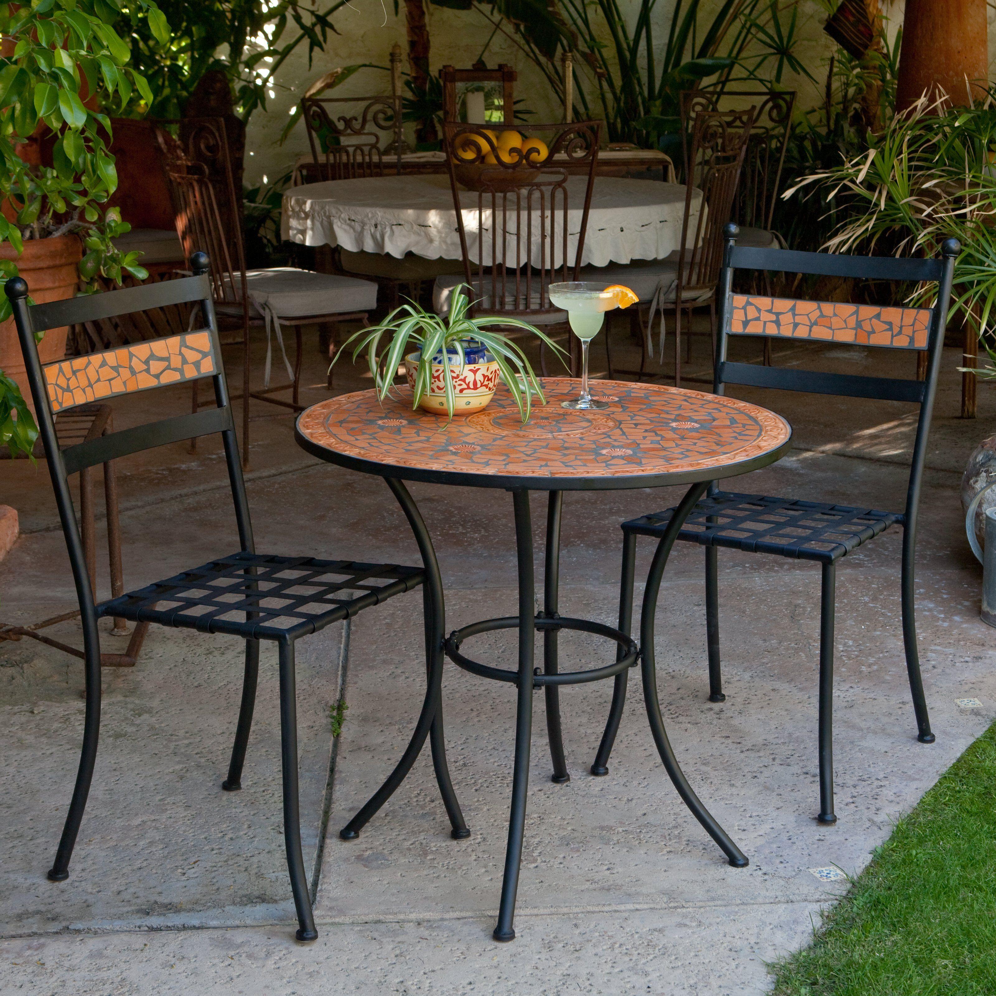 Coral coast terra cotta mosaic bistro set outdoor bistro sets at hayneedle