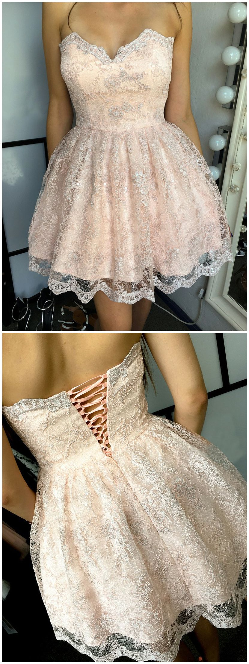 Pearls pink lace homecoming dressessweethear short prom dresslace