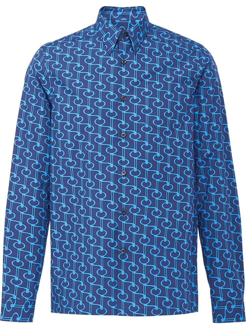 25c6460e80 Prada Poplin shirt with key print - Blue in 2019   Products   Shirts ...