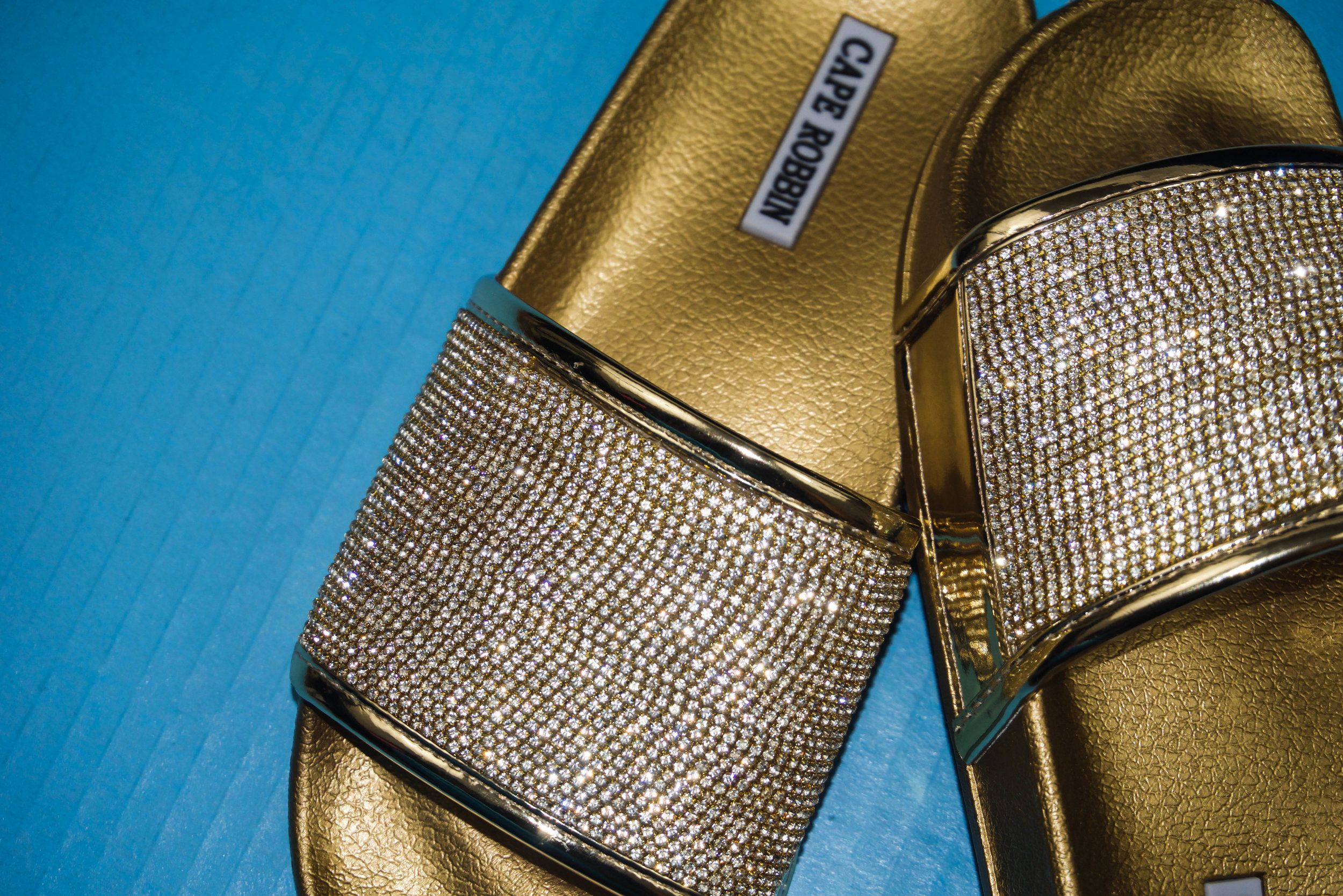 4163db11f921 Do-it-yourself fashion project to make your own sparkly flat sandals. These