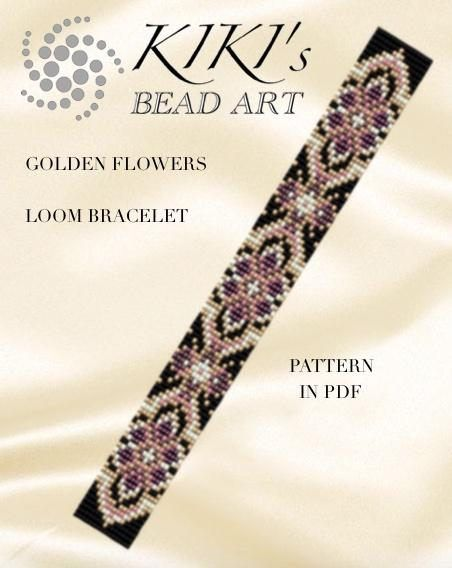 Photo of Bead loom pattern – Golden/aqua flowers LOOM bracelet PDF pa…