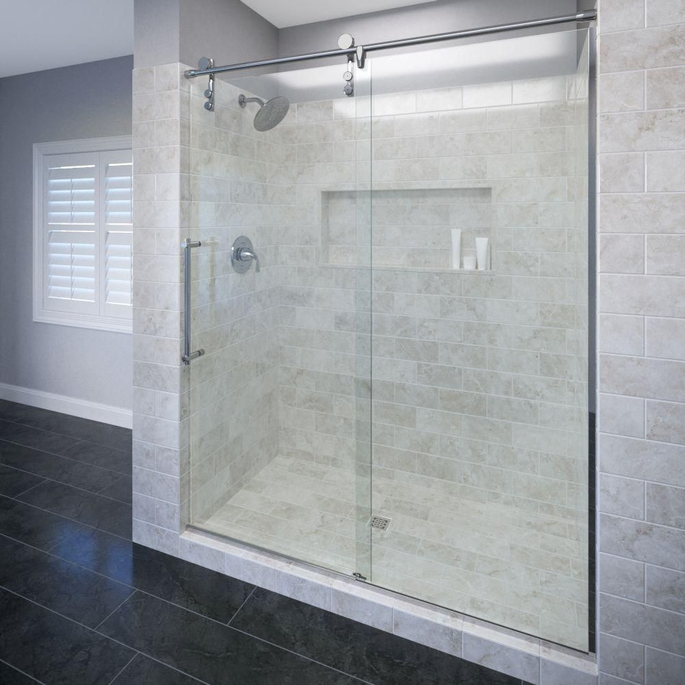 Basco Rolaire 47 In X 76 In Semi Framed Sliding Shower Door And Fixed Panel In Chrome With Images Shower Doors Sliding Shower Door Frameless Shower Doors