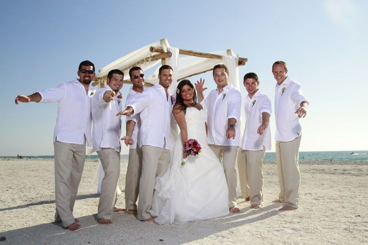 This type of mens beach wedding attire is a casual yet elegant look ...