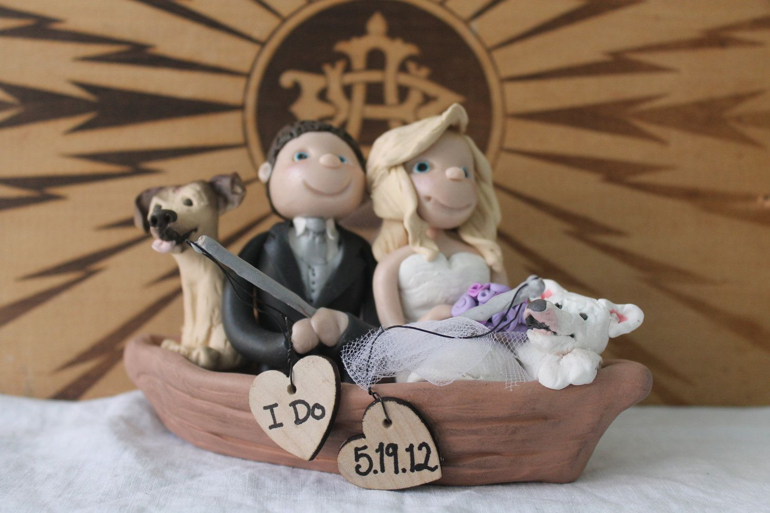 Fishing bride and groom wedding cake topper wooden boat