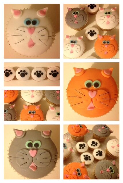 Cat cupcakes and paw mini cupcakes
