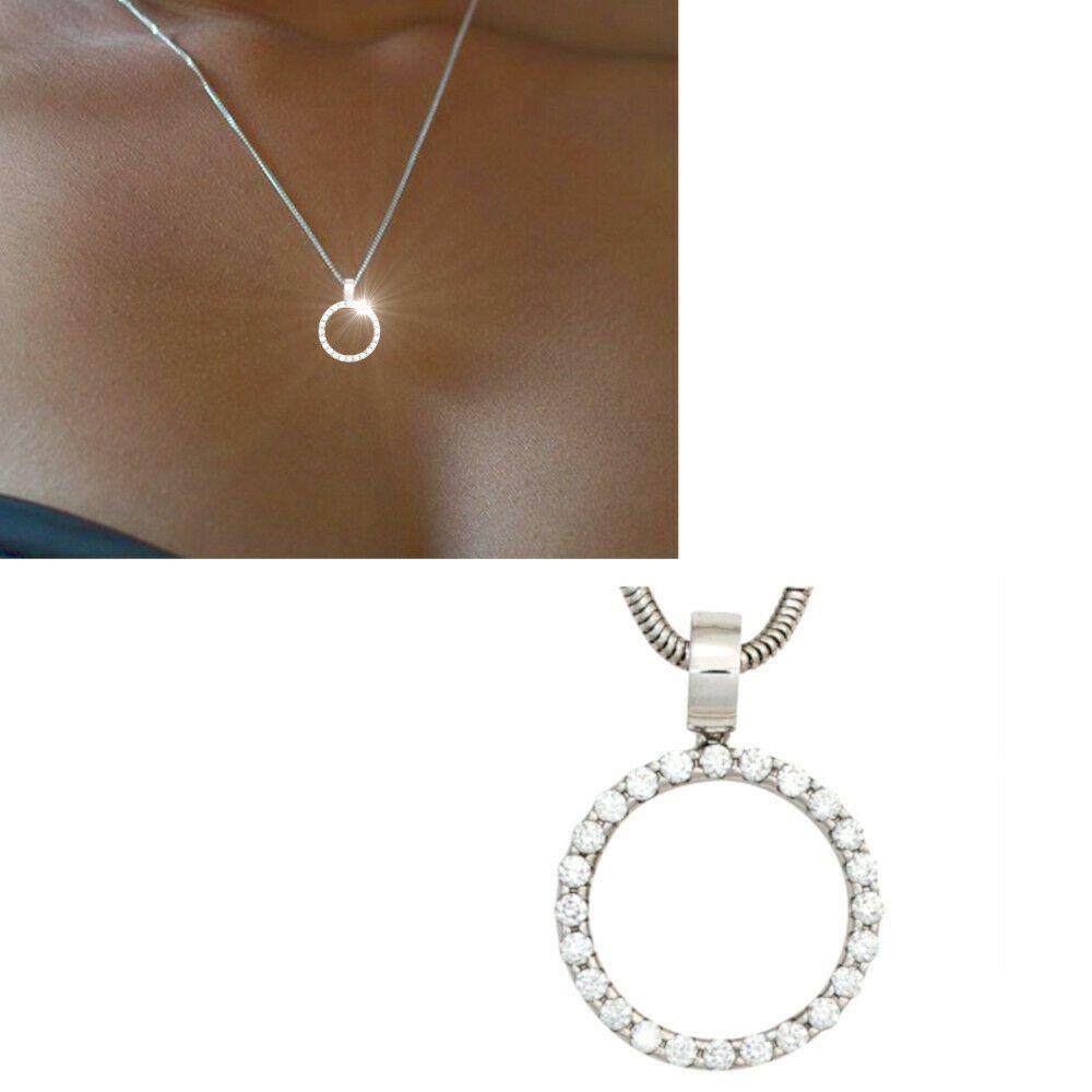 Details zu Diamanten Anhänger 585 echt Gold Weißgold rund 16