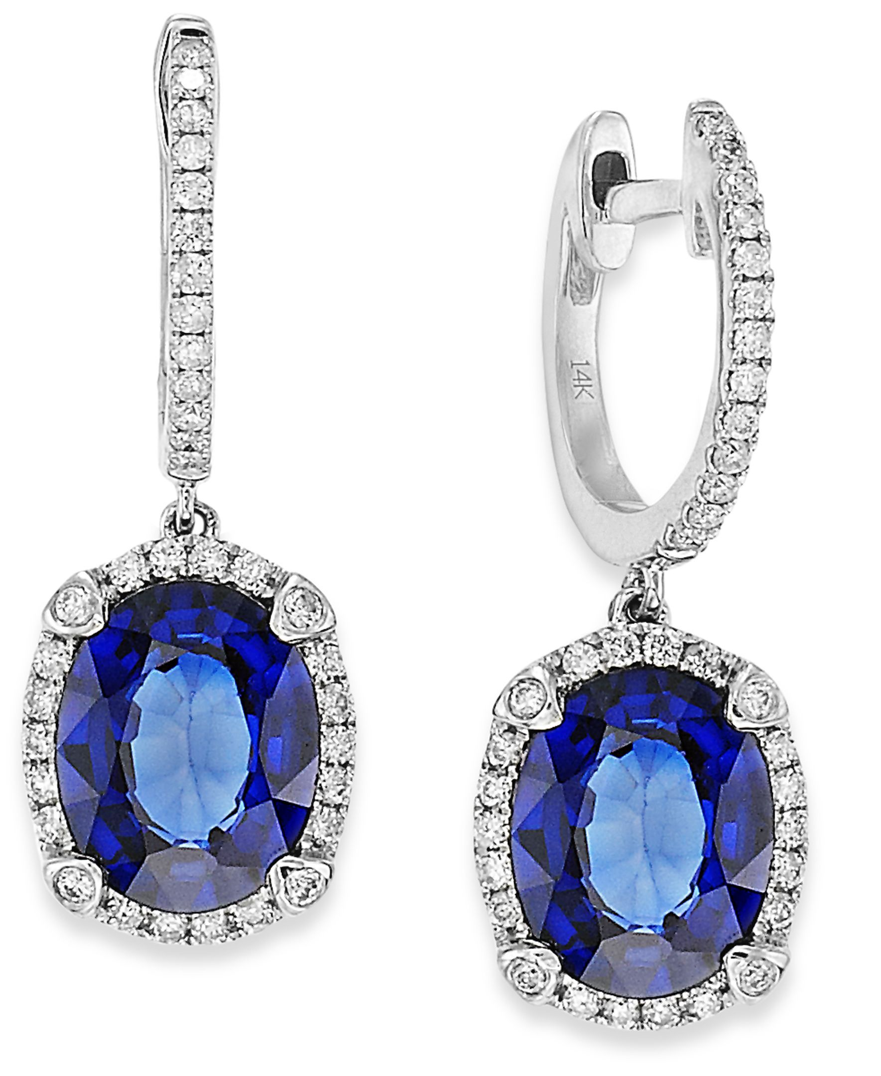 Velvet Bleu by Effy Manufactured Diffused Sapphire (3-3/4 ct. t.w.) and Diamond (1/3 ct. t.w.) Oval Earrings in 14k White Gold