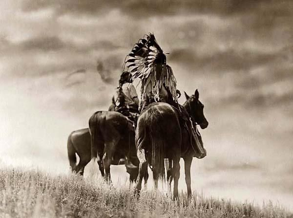 Unusual image of Cheyenne Warriors. It was taken in 1905 by Edward S. Curtis.