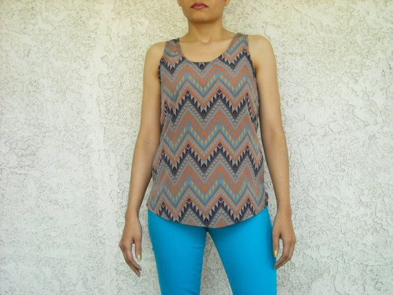 Neutral Taupe Aztec Tribal Chevron Printed Top Handmade by lanationclothing, $22.00