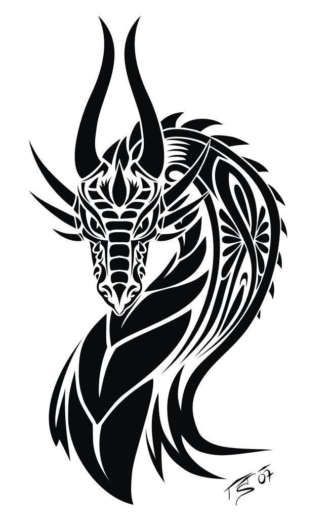 Beautiful Tribal Dragon Having Horns Tattoo Design  Beautiful Tribal Dragon Having Horns Tattoo Design