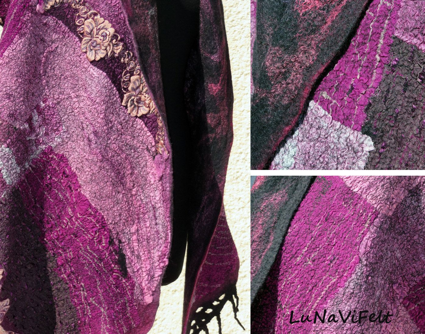 Wearable art nuno scarf Fiber art silk and wool by Crafts2Love