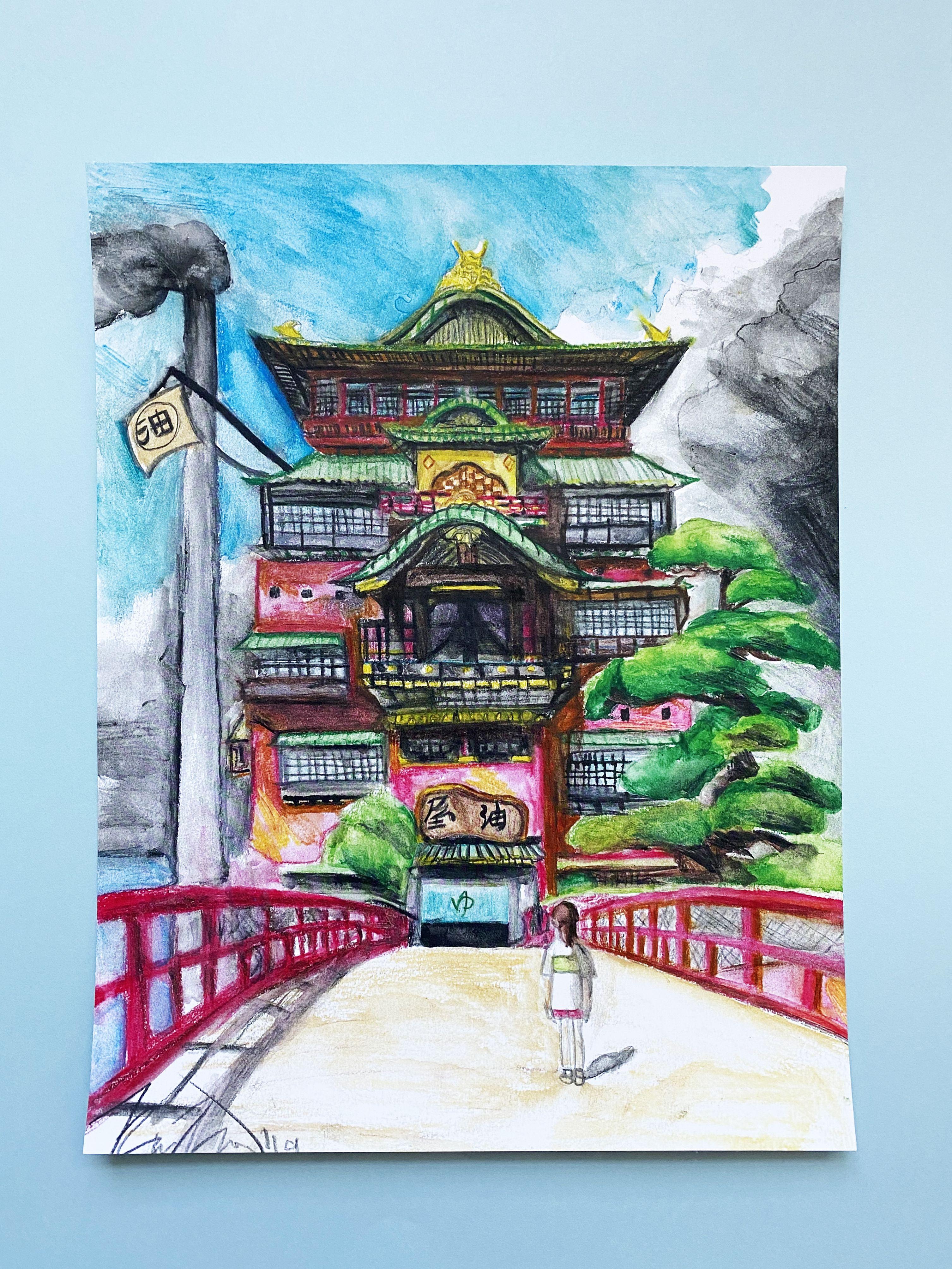Spirited Away Aesthetic Anime Art Studio Ghibli Watercolor Painting Drawing Decor Fan Art Print Japanese Art Watercolor Wall Art Studio Ghibli Art