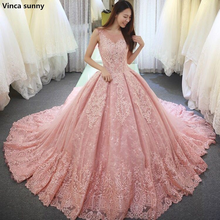 Vinca sunny Pink Ball Gown Wedding Dresses vestido de noiva long ...