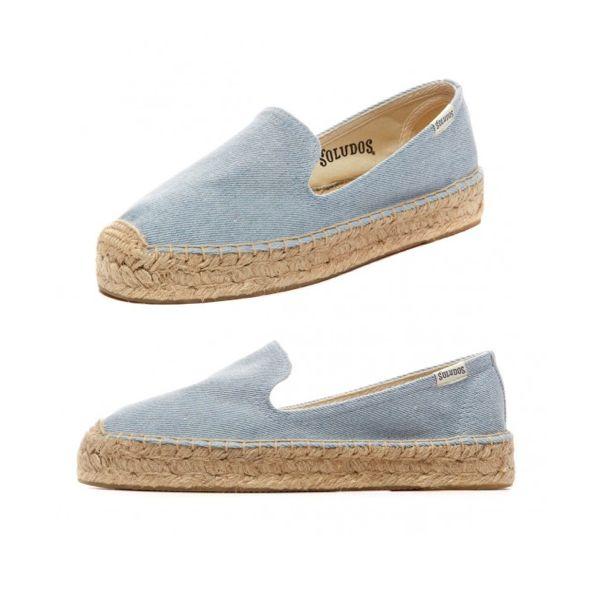 8 fresh ways to wear denim this spring -  Soludos platform smoking slipper in denim sky, $75, Shopbop.