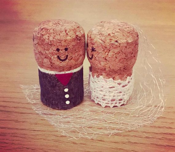 Cork Wedding Decorations: Groom And Groom Cork Cake Topper