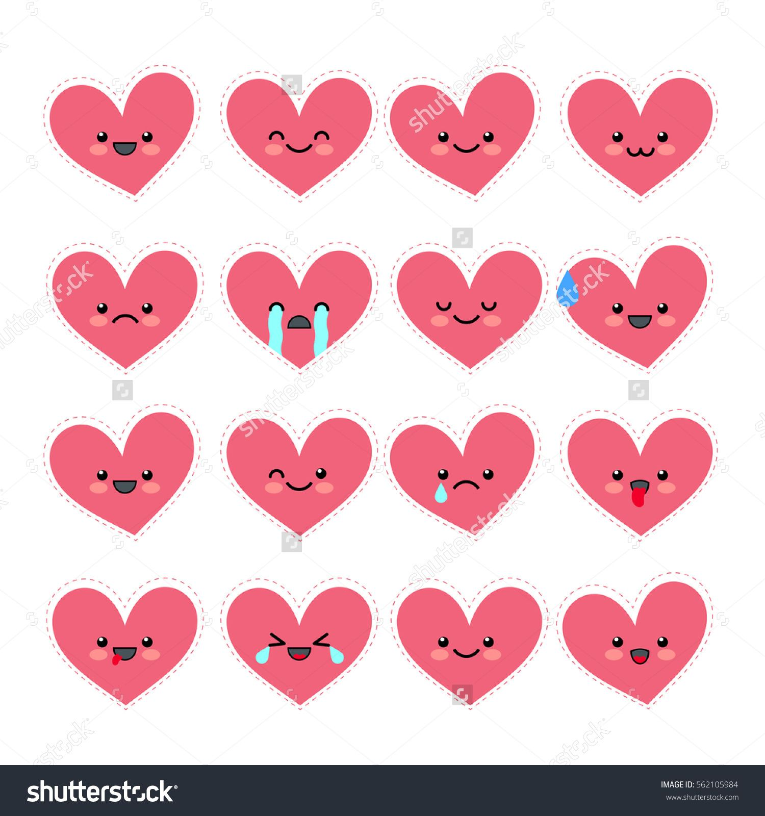 Various Emotions Of The Character. Emoji Collections Of Valentineu0027s Day