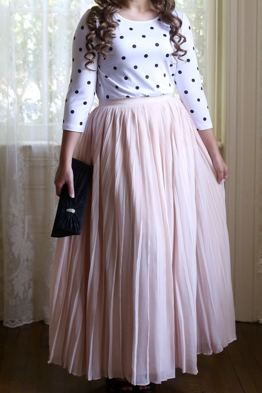 0049f439f Modest Fashion | Modest Bridesmaid Dresses | Blush Pink Pleated Chiffon  Fluttering Fancy Maxi Skirt paired with Dainty Jewell's Basic Layering Top  in polka ...