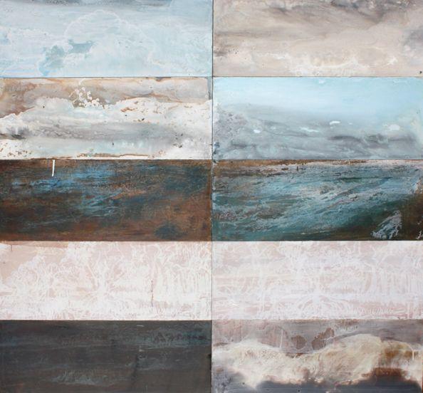 Caroline Rannersberger(Australian, b.1961)/'Becoming Oceania/West Alligator Head', 2010. Pigment, varnish, wax on cedar wood (10 panels) 138 x 148cm
