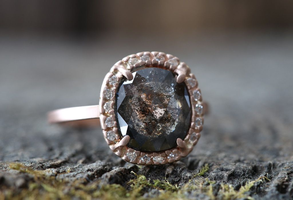 One of a Kind Natural Black Diamond Ring with Pav Halo Alexis