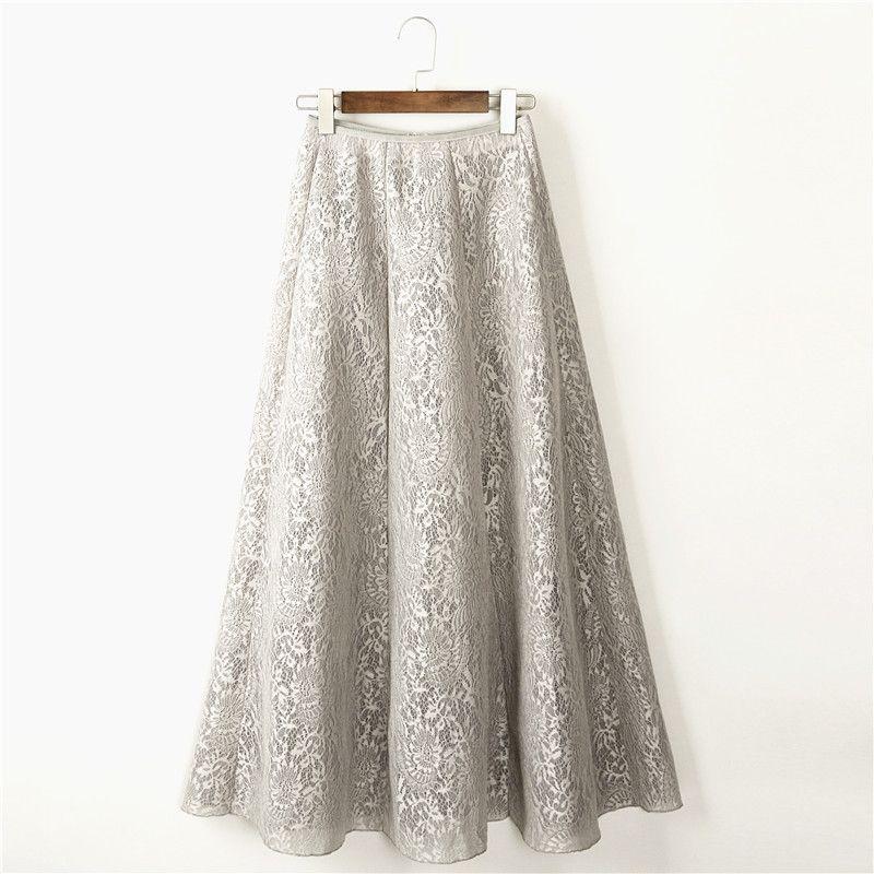 a873d7d04a919 100cm 2017 Women Maxi Skirt Lace Multi Color Floor-Length High Waist Vintage  Ball Gown