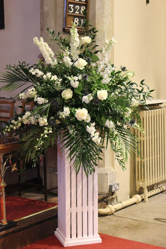 Church Wedding Flower Arrangment Ivory And Blue Pedestal
