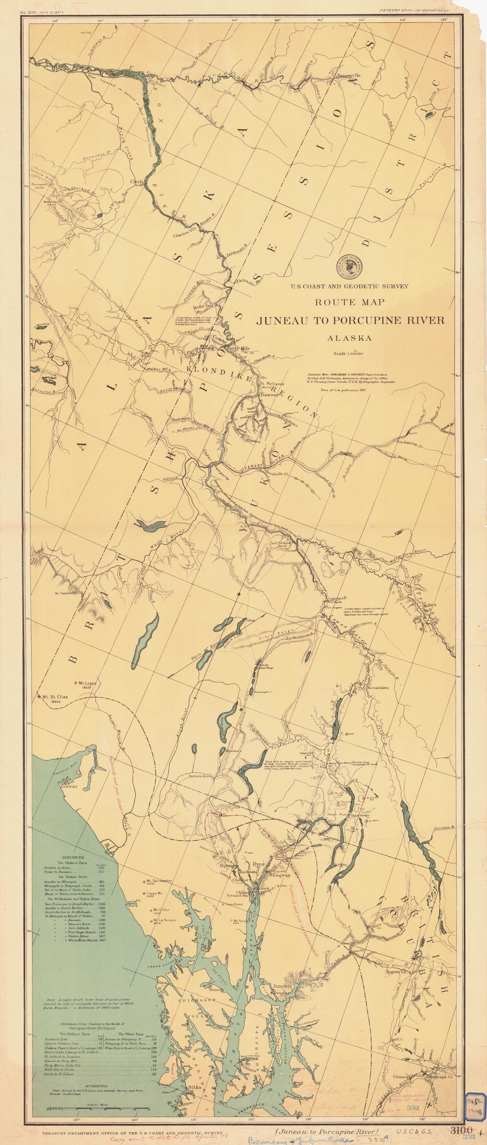 18 X 24 Inch 1897 Us Old Nautical Map Drawing Chart Of Juneau To - Us-coast-and-geodetic-survey-maps