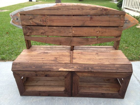 etsy pallet furniture. Surfers Bench - Pallet Wood With Surfboard Rack Built-in! On Etsy, Etsy Furniture